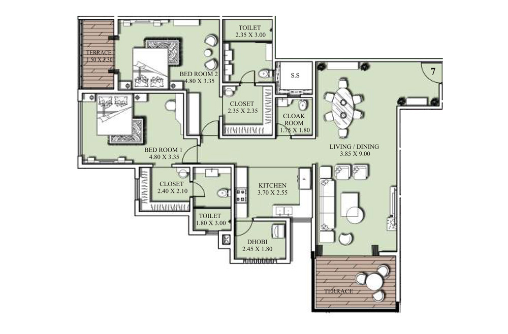 2 bed floorplan - 180 SQM