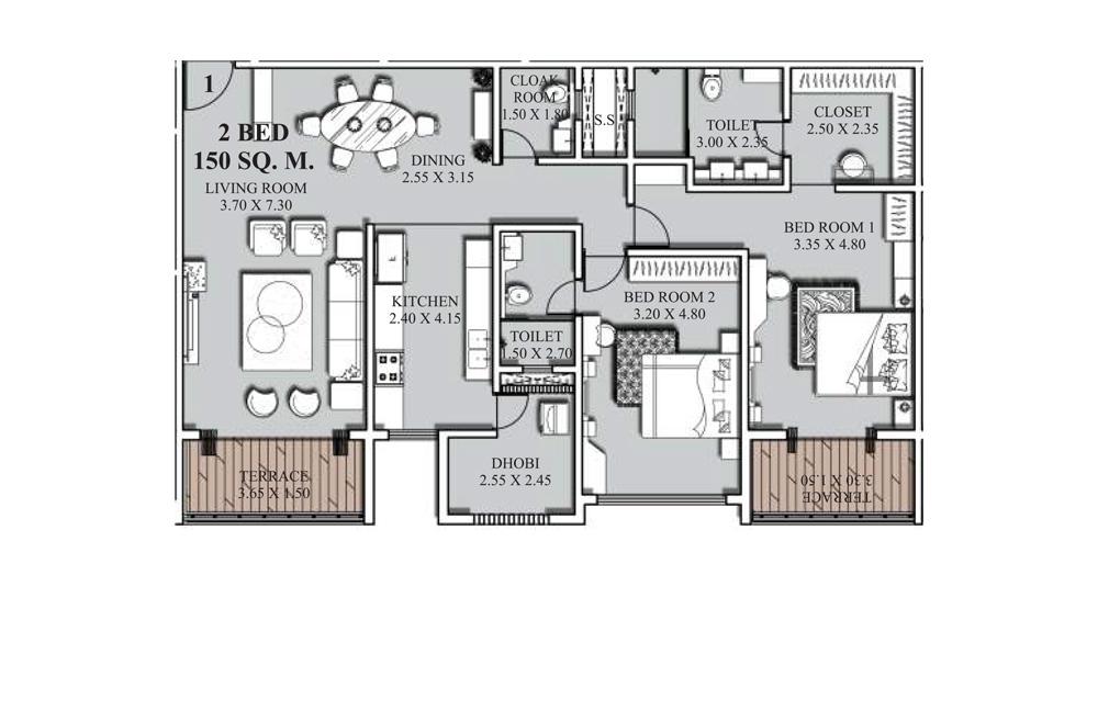 2 bed B floorplan - 150 SQM