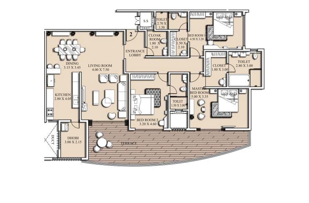 3 bed floorplan - 230 SQM