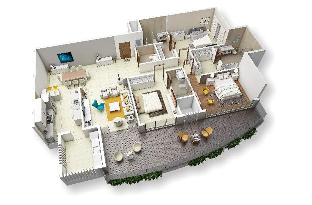 3 bed view - 230 SQM