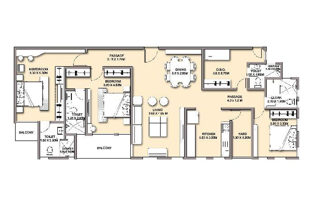 3 bed with DSQ - 170 SQM