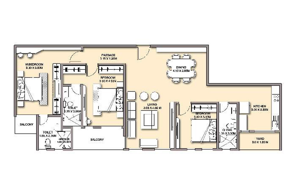 3 bed without DSQ - 158 SQM